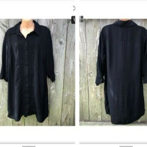 Coldwater pintucked black button down tunic duster